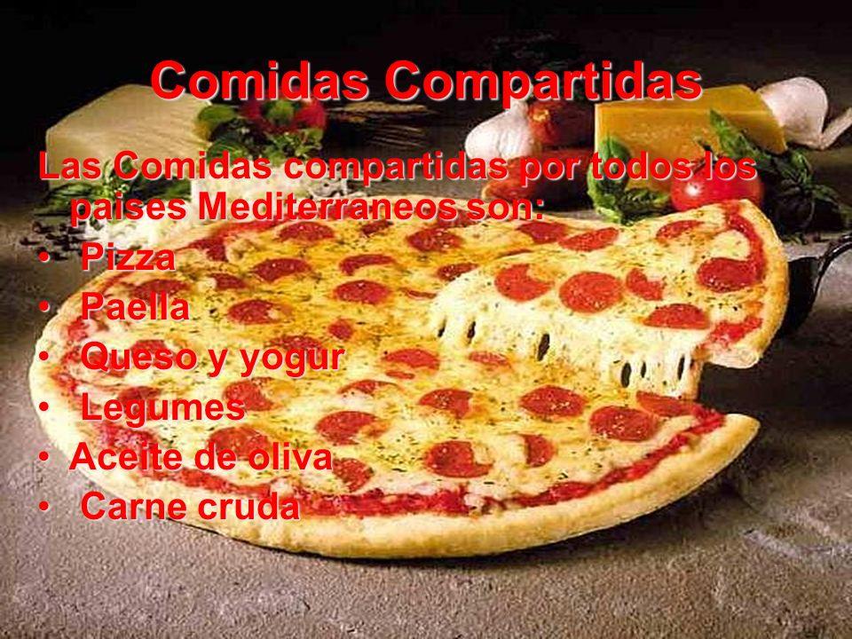 Comidas Compartidas Las Comidas compartidas por todos los paises Mediterraneos son: Pizza. Paella.