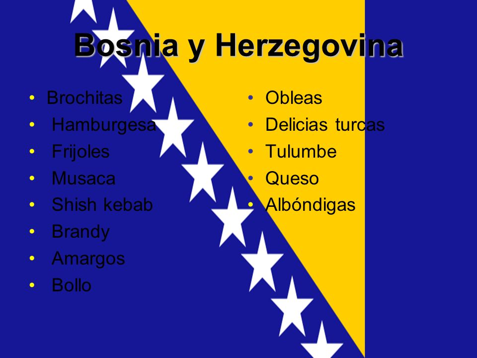 Bosnia y Herzegovina Brochitas Hamburgesa Frijoles Musaca Shish kebab