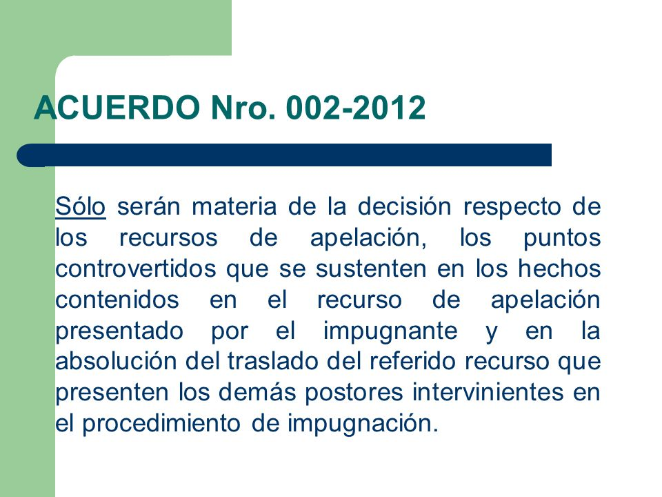 ACUERDO Nro. 002-2012