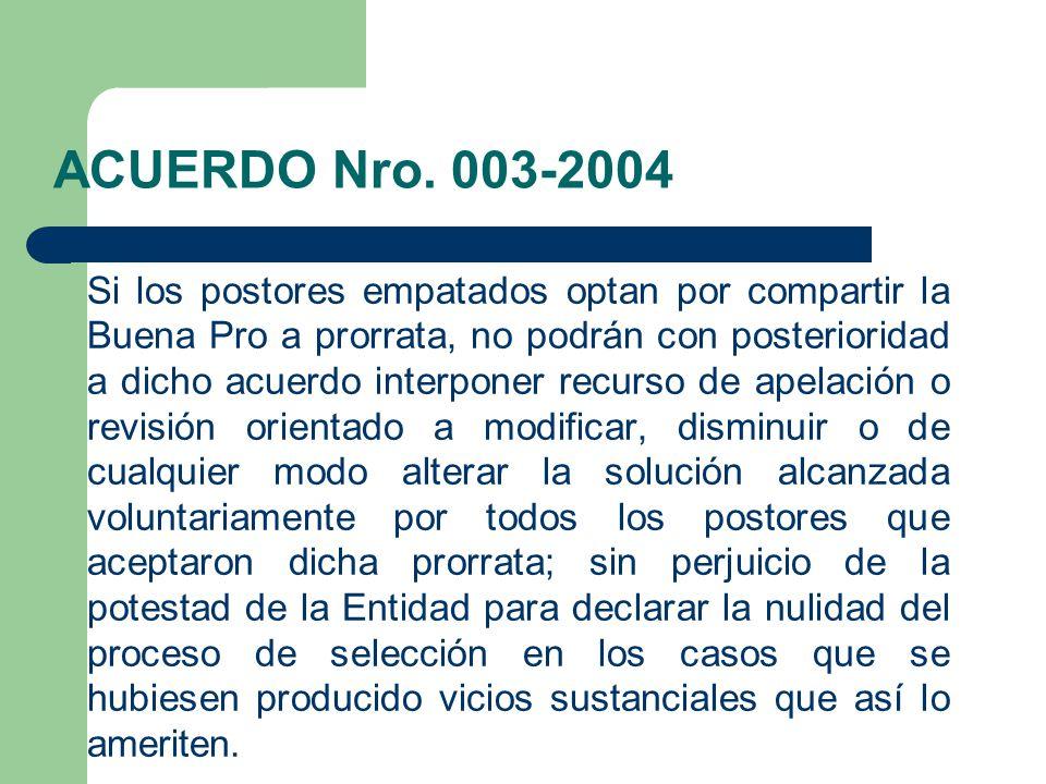 ACUERDO Nro. 003-2004
