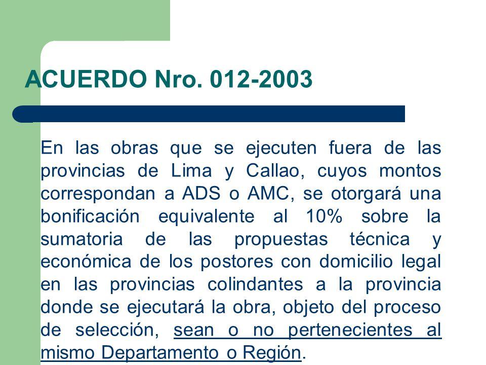ACUERDO Nro. 012-2003