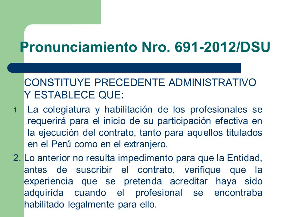 Pronunciamiento Nro. 691-2012/DSU