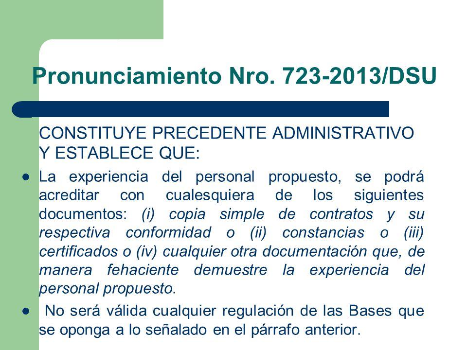 Pronunciamiento Nro. 723-2013/DSU