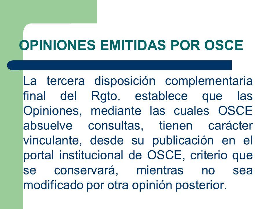 OPINIONES EMITIDAS POR OSCE