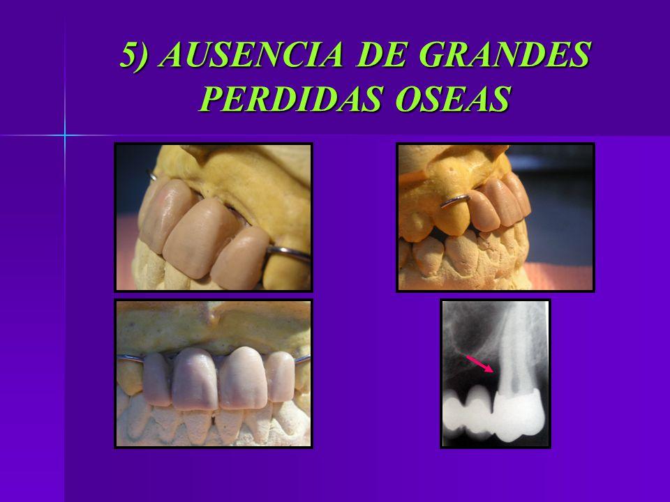 5) AUSENCIA DE GRANDES PERDIDAS OSEAS