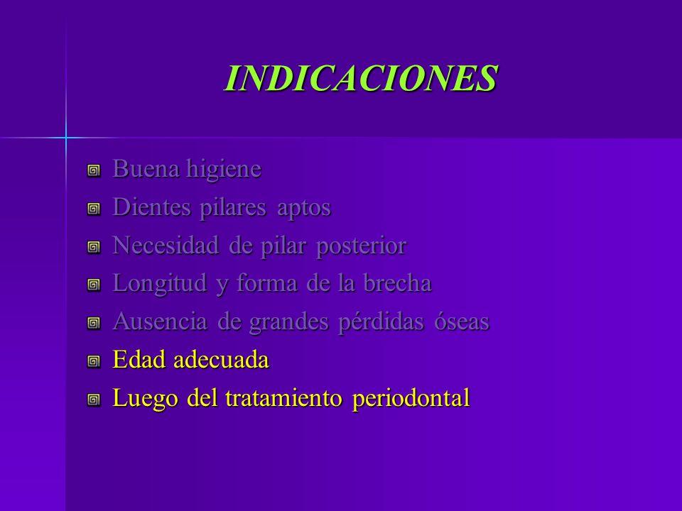 INDICACIONES Buena higiene Dientes pilares aptos