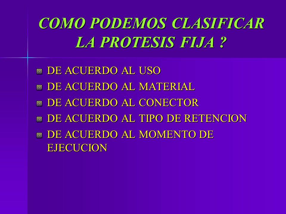 COMO PODEMOS CLASIFICAR LA PROTESIS FIJA