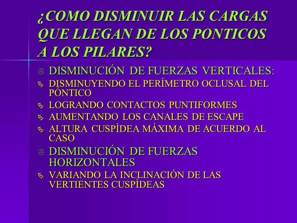 ¿COMO DISMINUIR LAS CARGAS QUE LLEGAN DE LOS PONTICOS A LOS PILARES