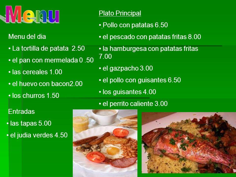 Menu Plato Principal Pollo con patatas 6.50
