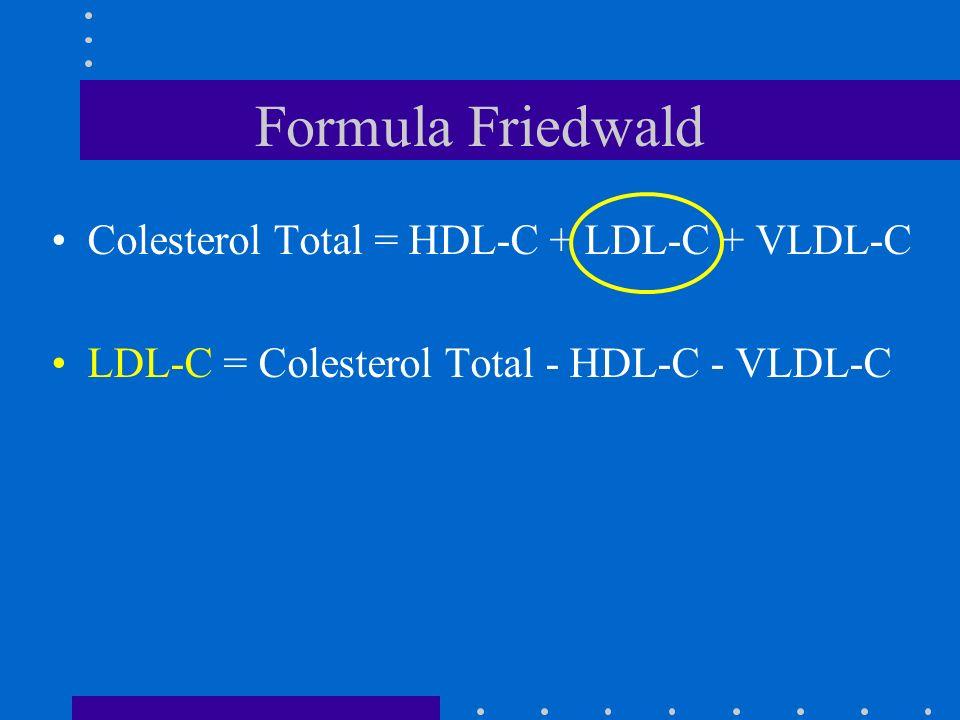 Formula Friedwald Colesterol Total = HDL-C + LDL-C + VLDL-C