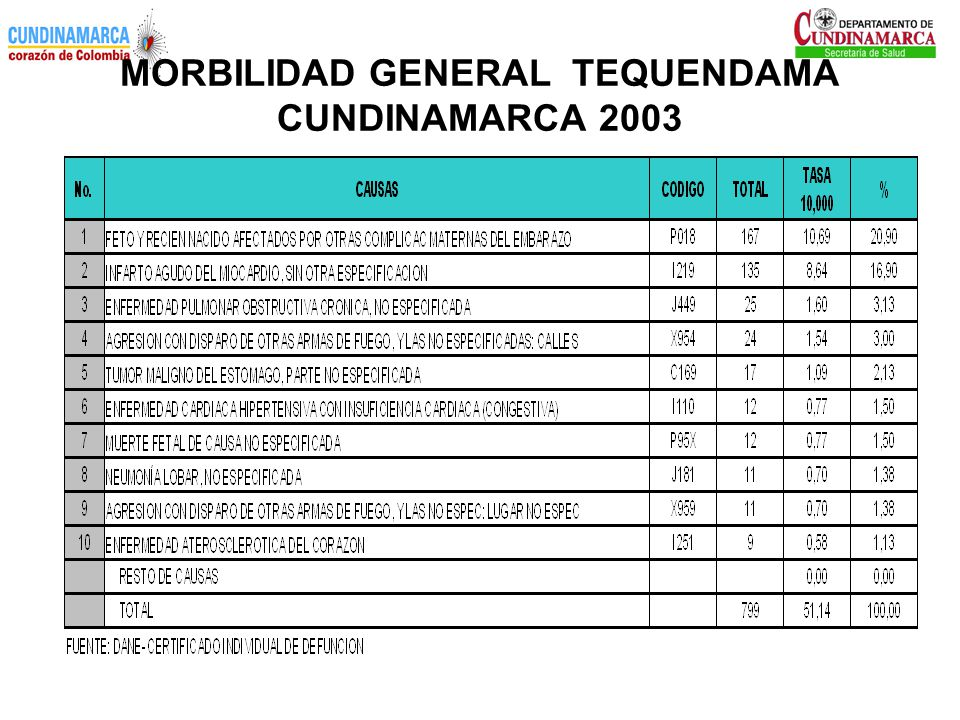 MORBILIDAD GENERAL TEQUENDAMA CUNDINAMARCA 2003
