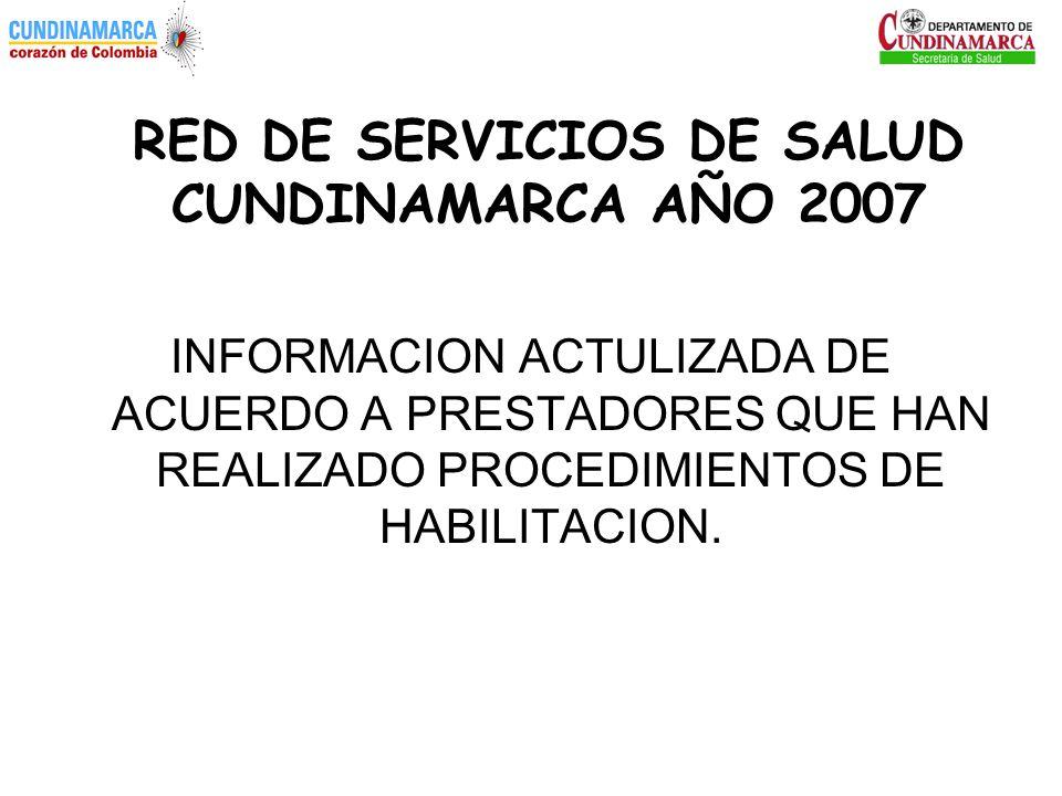 RED DE SERVICIOS DE SALUD CUNDINAMARCA AÑO 2007