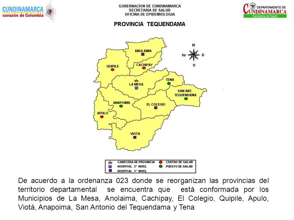 De acuerdo a la ordenanza 023 donde se reorganizan las provincias del territorio departamental se encuentra que está conformada por los Municipios de La Mesa, Anolaima, Cachipay, El Colegio, Quipile, Apulo, Viotá, Anapoima, San Antonio del Tequendama y Tena