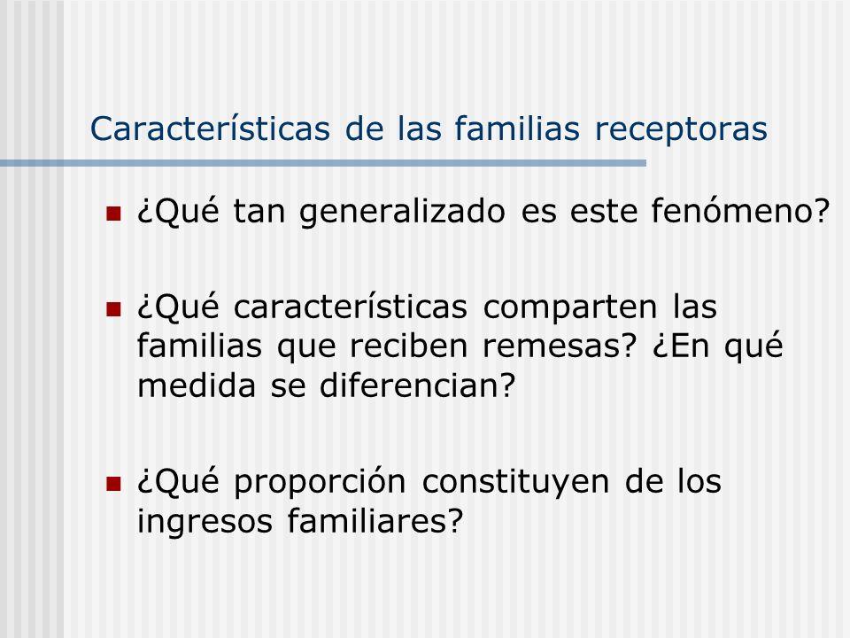 Características de las familias receptoras