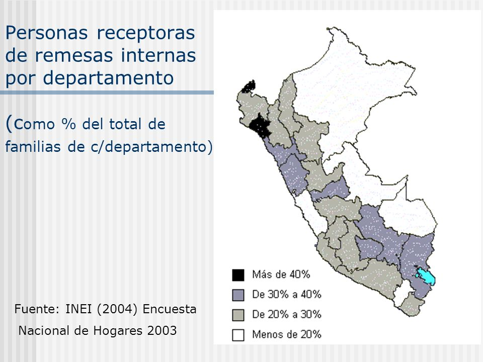 Personas receptoras de remesas internas por departamento (como % del total de familias de c/departamento)