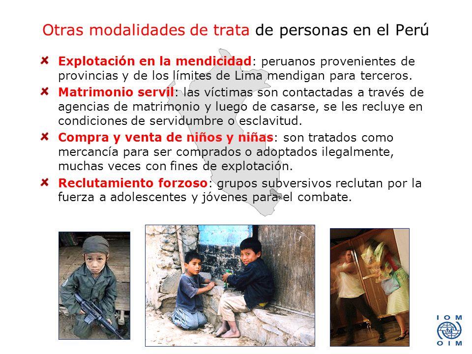 Otras modalidades de trata de personas en el Perú
