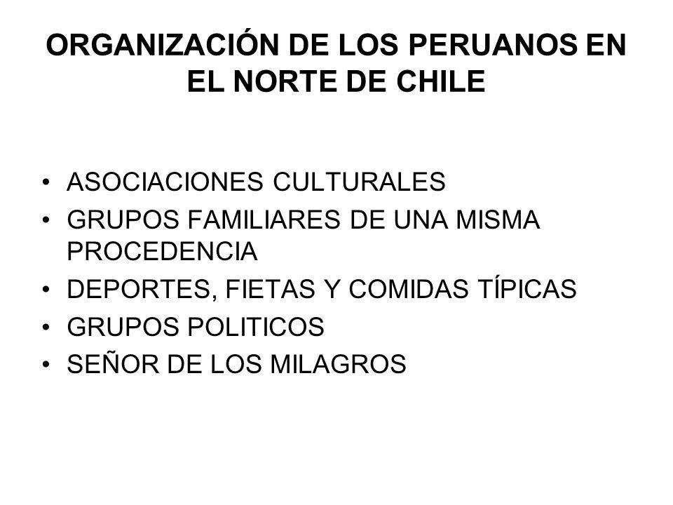 ORGANIZACIÓN DE LOS PERUANOS EN EL NORTE DE CHILE