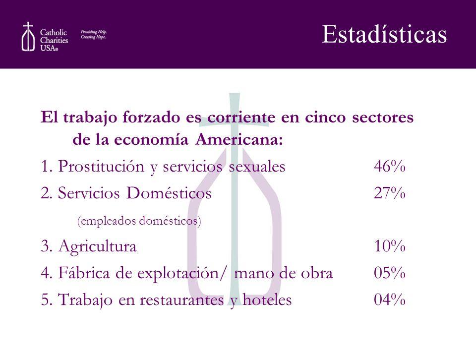 Estadísticas El trabajo forzado es corriente en cinco sectores de la economía Americana: 1. Prostitución y servicios sexuales 46%