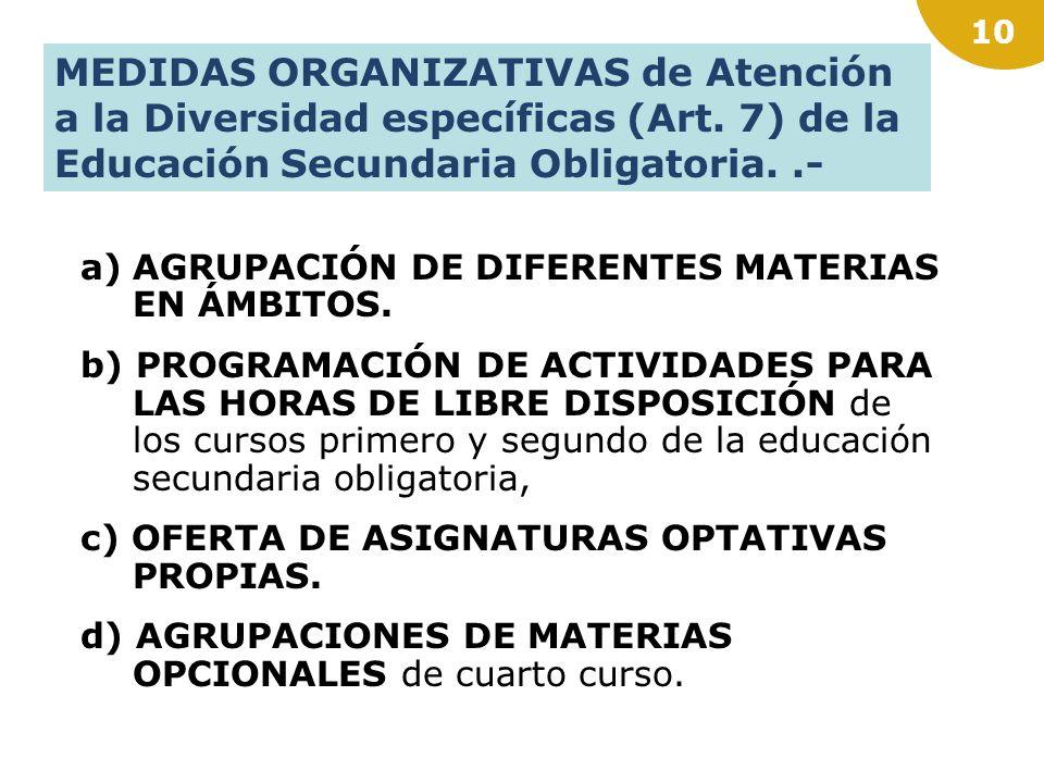 MEDIDAS ORGANIZATIVAS de Atención a la Diversidad específicas (Art