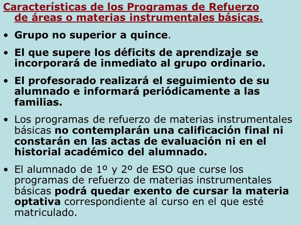 Características de los Programas de Refuerzo de áreas o materias instrumentales básicas.