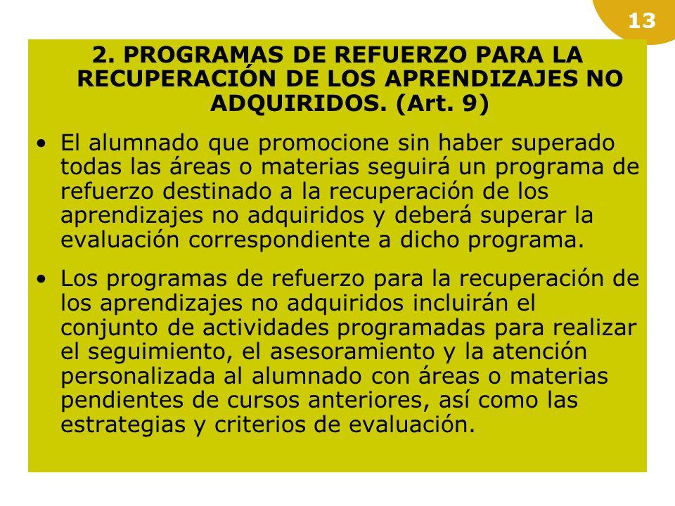2. PROGRAMAS DE REFUERZO PARA LA RECUPERACIÓN DE LOS APRENDIZAJES NO ADQUIRIDOS. (Art. 9)