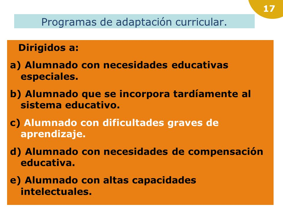 Programas de adaptación curricular.