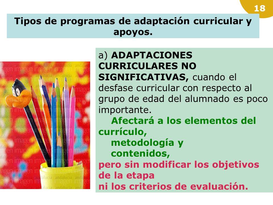 Tipos de programas de adaptación curricular y apoyos.