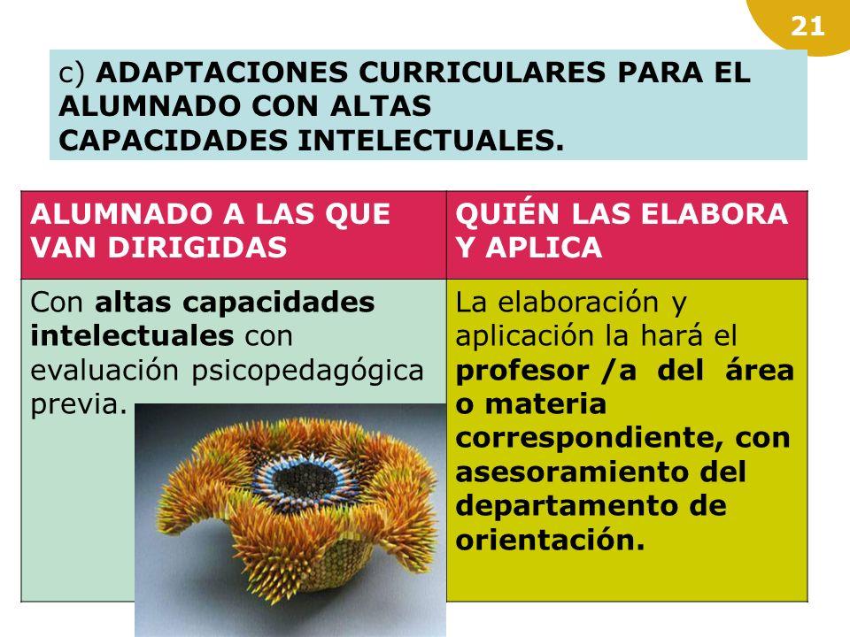 c) ADAPTACIONES CURRICULARES PARA EL ALUMNADO CON ALTAS