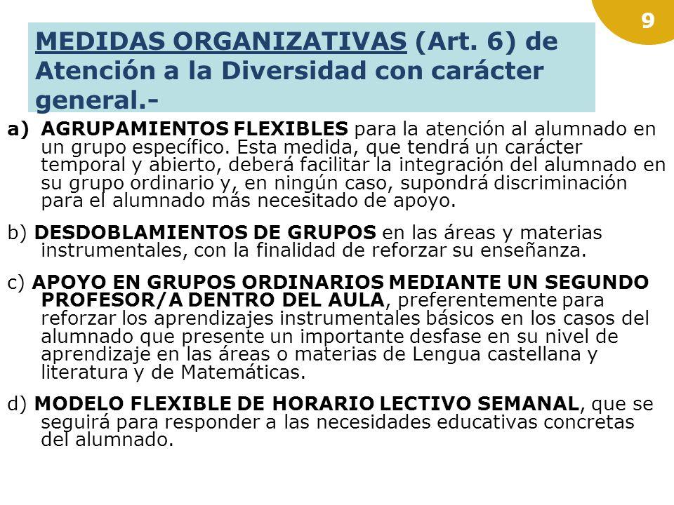 MEDIDAS ORGANIZATIVAS (Art