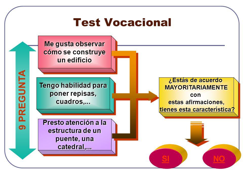 Test Vocacional 9 PREGUNTA SI NO