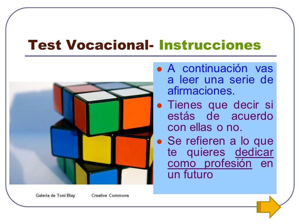 Test Vocacional- Instrucciones