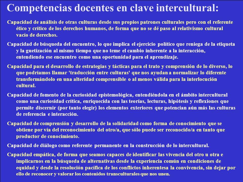 Competencias docentes en clave intercultural:
