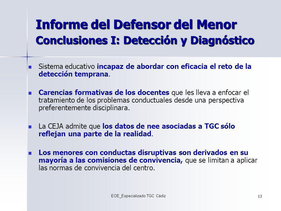 Informe del Defensor del Menor Conclusiones I: Detección y Diagnóstico