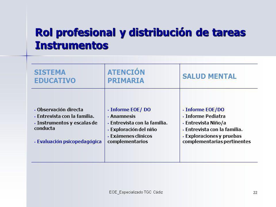Rol profesional y distribución de tareas Instrumentos