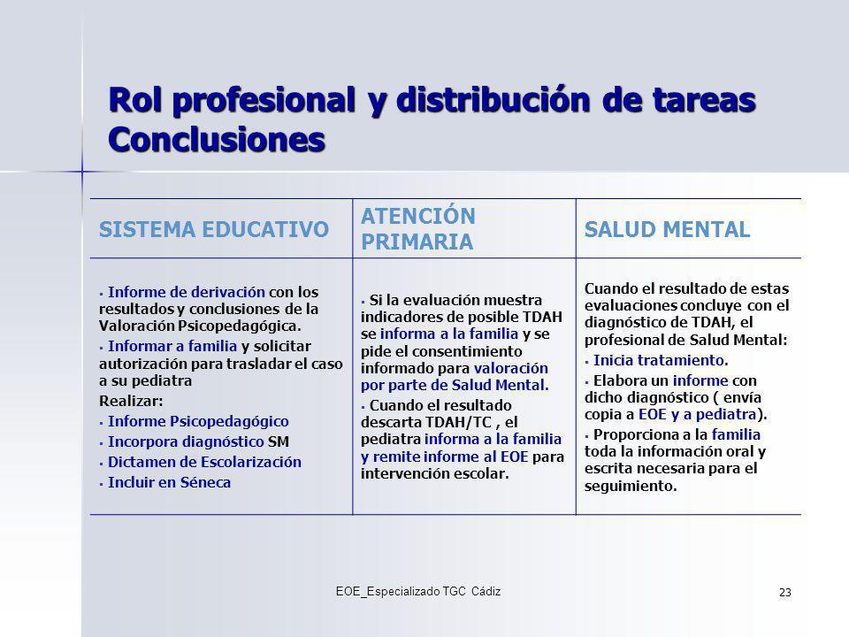 Rol profesional y distribución de tareas Conclusiones