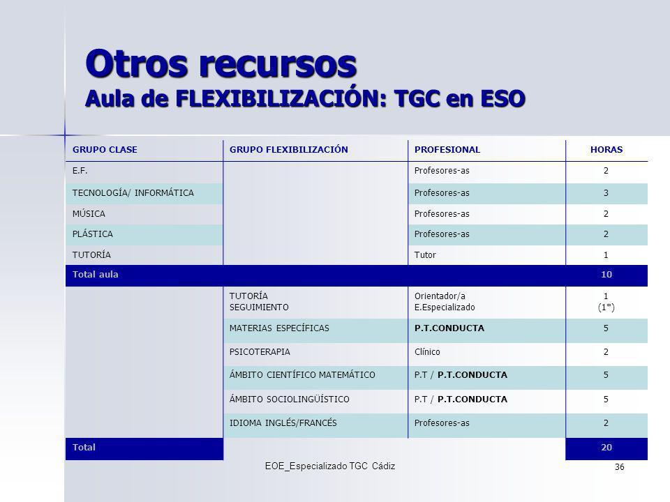 Otros recursos Aula de FLEXIBILIZACIÓN: TGC en ESO