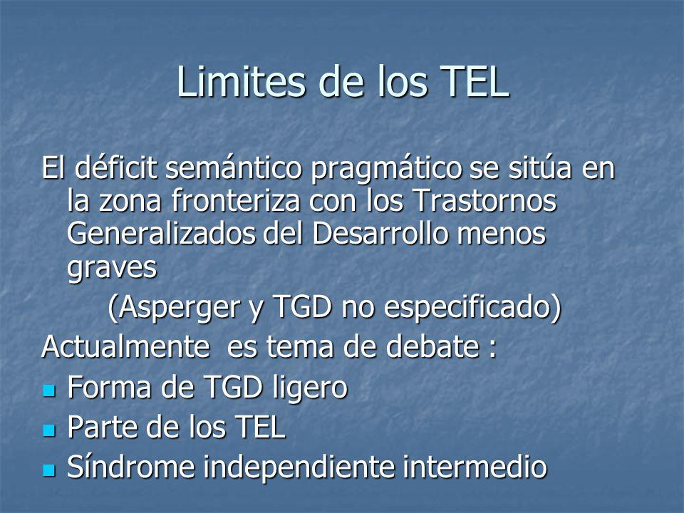 Limites de los TEL El déficit semántico pragmático se sitúa en la zona fronteriza con los Trastornos Generalizados del Desarrollo menos graves.