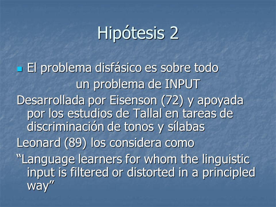 Hipótesis 2 El problema disfásico es sobre todo un problema de INPUT