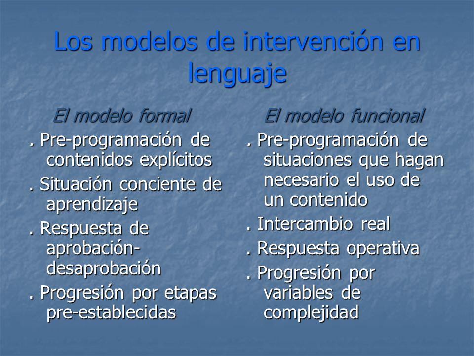 Los modelos de intervención en lenguaje