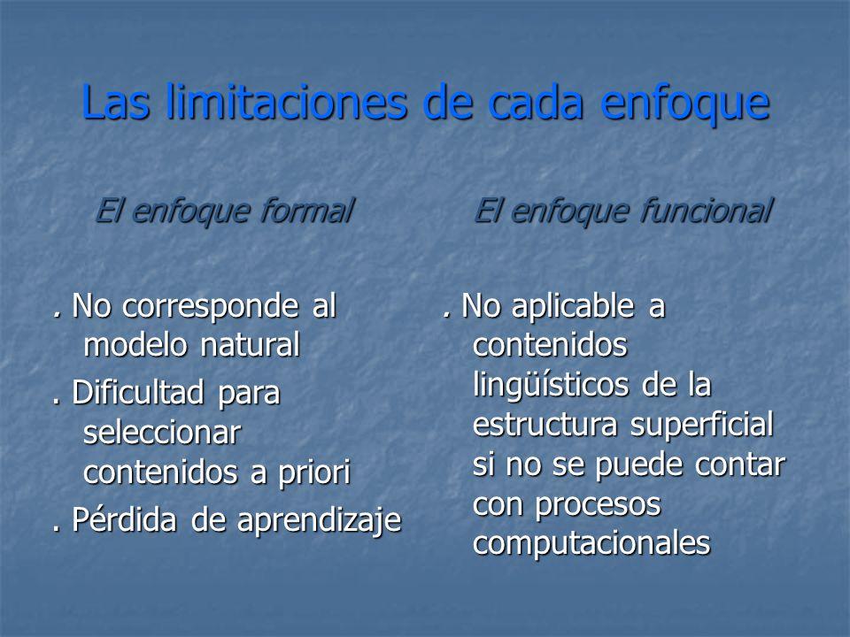 Las limitaciones de cada enfoque