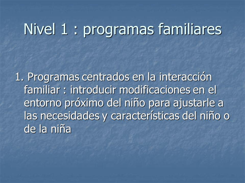 Nivel 1 : programas familiares