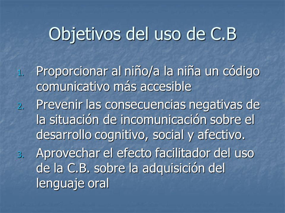 Objetivos del uso de C.B Proporcionar al niño/a la niña un código comunicativo más accesible.