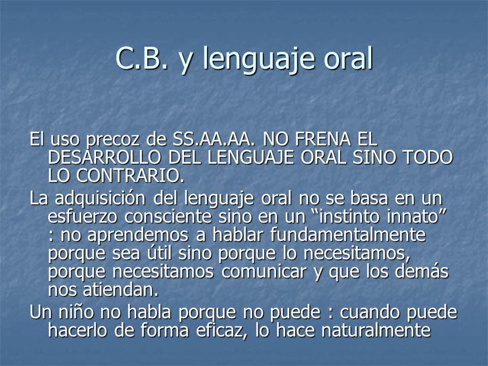 C.B. y lenguaje oral El uso precoz de SS.AA.AA. NO FRENA EL DESARROLLO DEL LENGUAJE ORAL SINO TODO LO CONTRARIO.