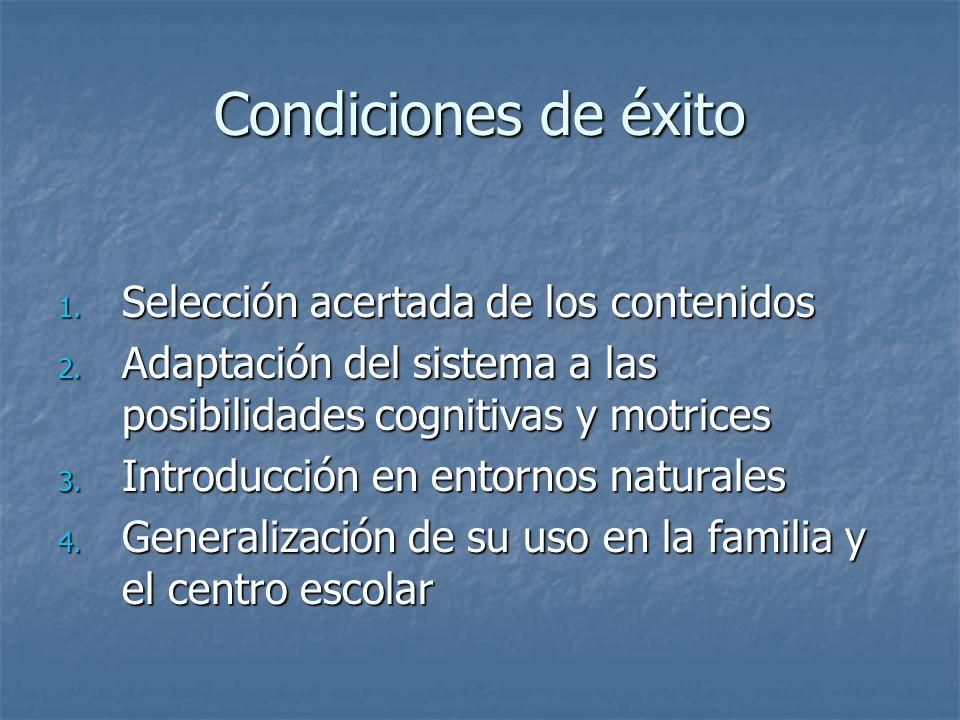 Condiciones de éxito Selección acertada de los contenidos