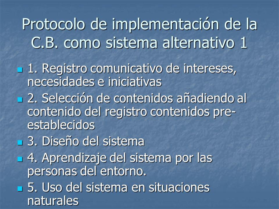Protocolo de implementación de la C.B. como sistema alternativo 1
