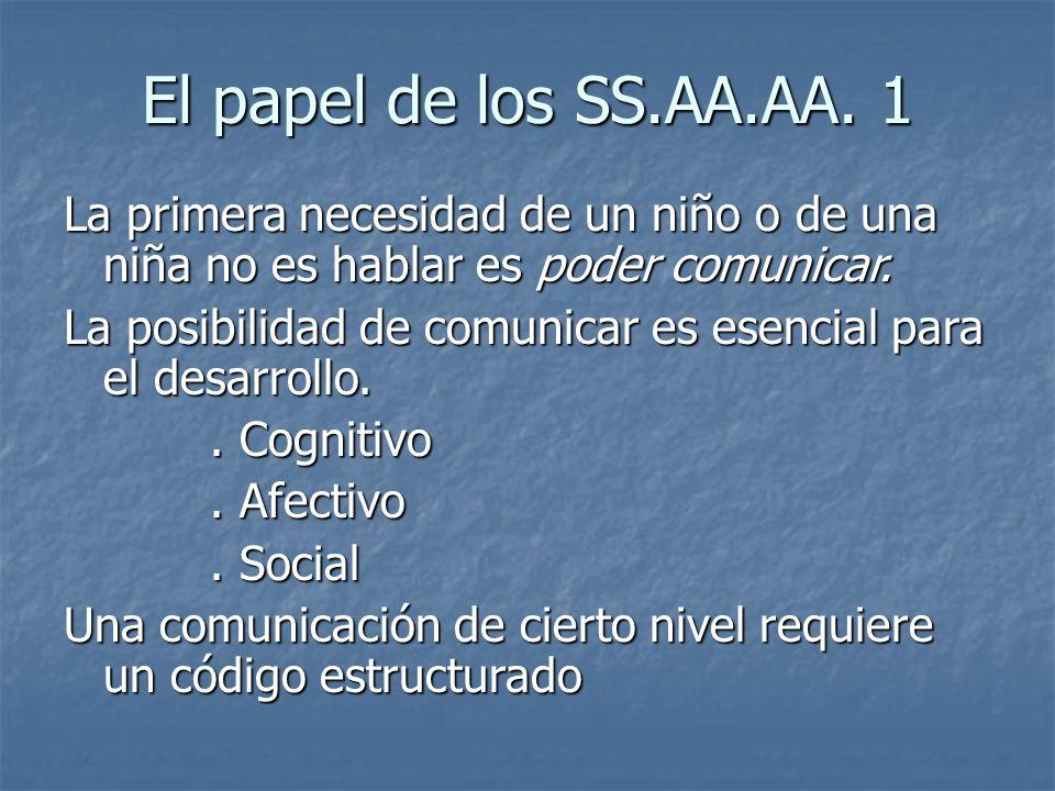 El papel de los SS.AA.AA. 1 La primera necesidad de un niño o de una niña no es hablar es poder comunicar.