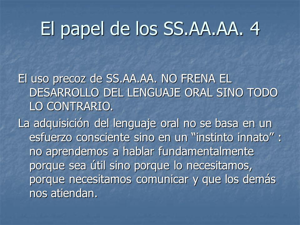 El papel de los SS.AA.AA. 4 El uso precoz de SS.AA.AA. NO FRENA EL DESARROLLO DEL LENGUAJE ORAL SINO TODO LO CONTRARIO.