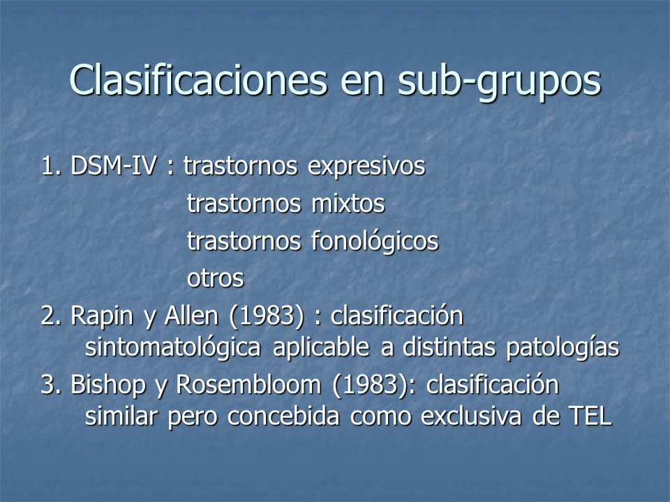 Clasificaciones en sub-grupos