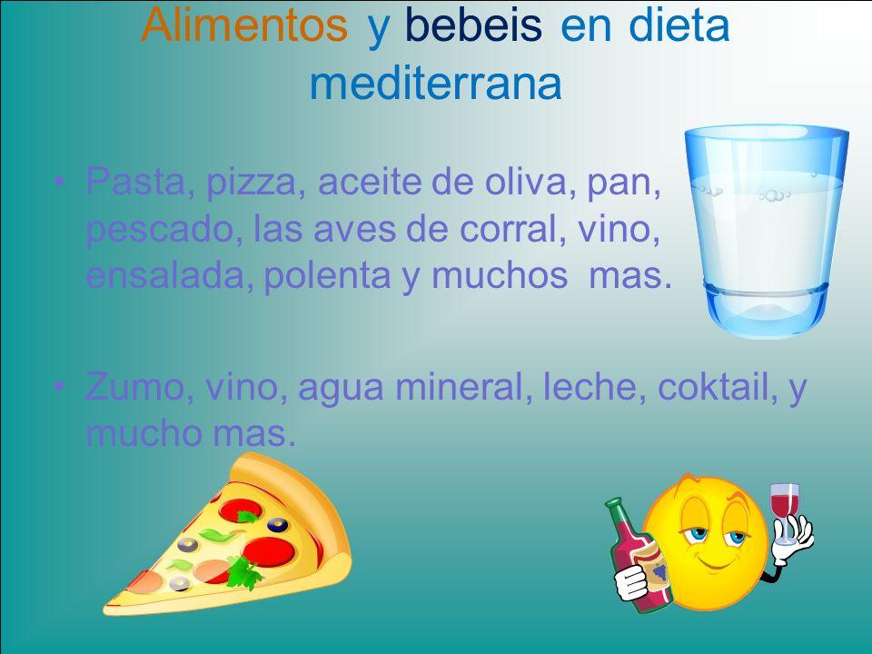 Alimentos y bebeis en dieta mediterrana