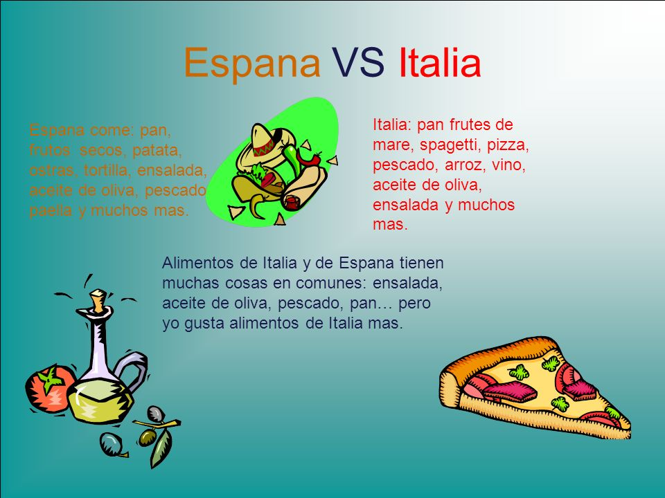 Espana VS Italia Italia: pan frutes de mare, spagetti, pizza, pescado, arroz, vino, aceite de oliva, ensalada y muchos mas.